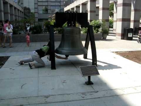 Ringing the Liberty Bell at Bicentennial Plaza