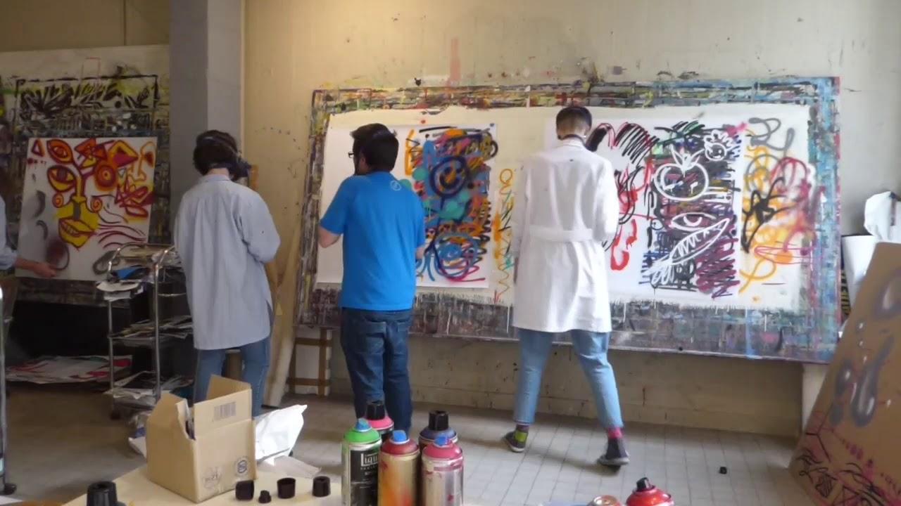 Atelier graff d'initiation à la peinture aérosol à l'École d'Art municipale de Romans sur Isère 2/2