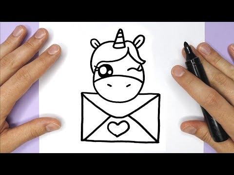 Wie Zeichnet Man Ein  Einhorn Mit Einem Brief - LIEBE
