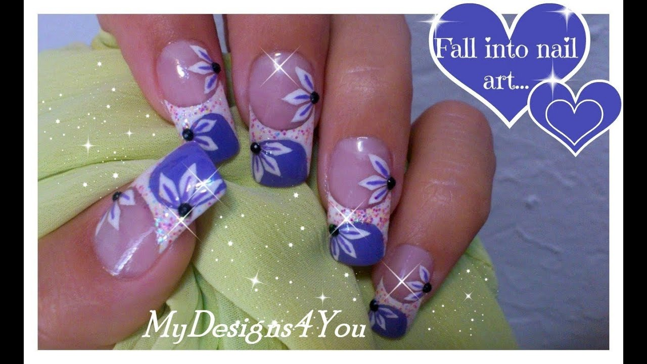 Floral Nail Art Tutorial | Purple French Tip Nails | Long ...