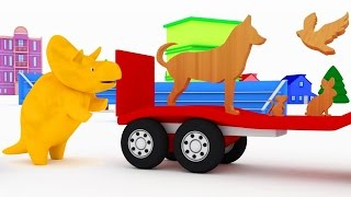 Naucz się nazw zwierząt z kostkami i z Dino Dinozaurem | bajka edukacyjna dla dzieci i niemowlaków
