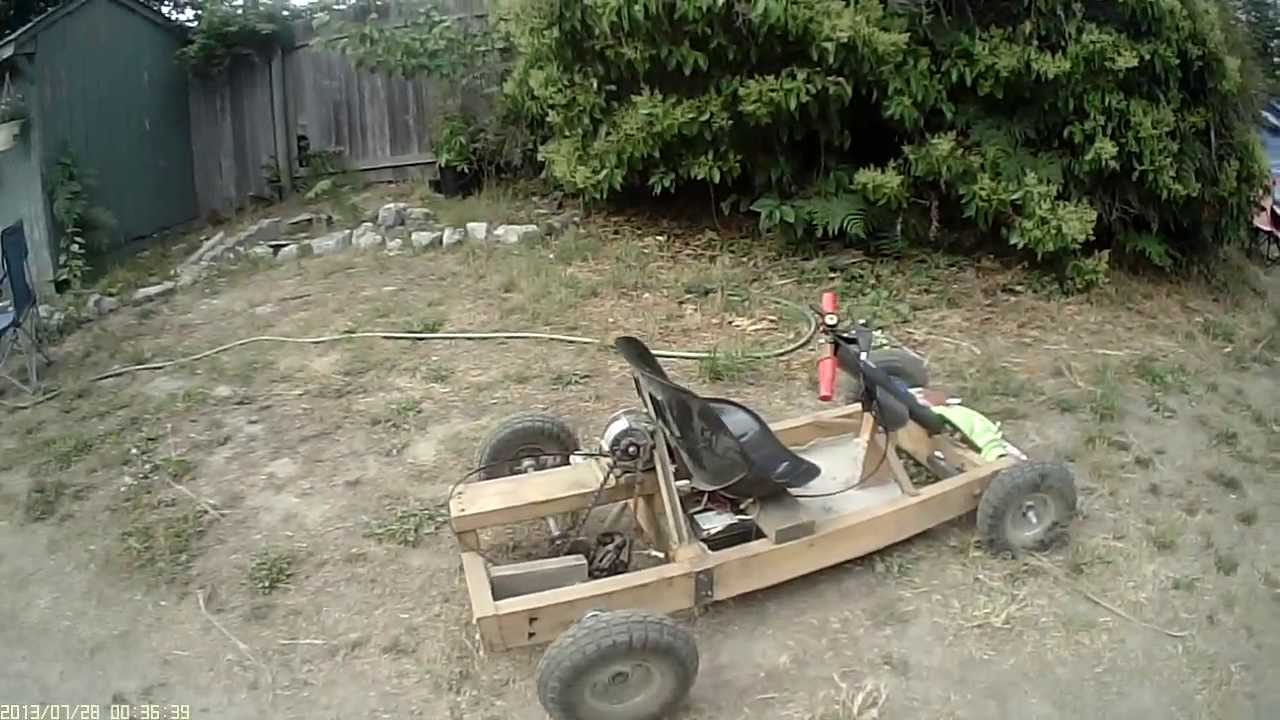 Home Made 350w Electric Wooden Gocart With 6 Speed Bicycle Shifter Hd