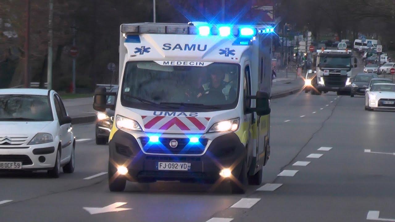 SMUR Arras met spoed naar en vanaf ziekenhuis Lille (Fr)