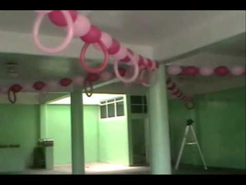 Decoracion con globos bautizo youtube - Como preparar una comunion en casa ...