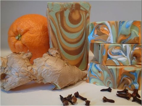 Making and cutting Spiced Orange and Clove Soap (Tiger Swirl)