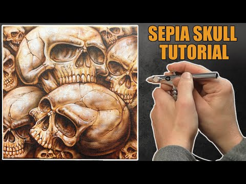 Learn how to Airbrush Sepia Skulls on canvas using a stencil