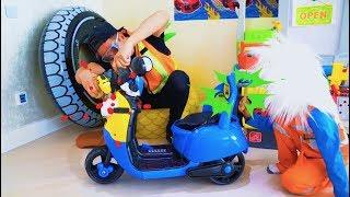سينيا وأبي يفتحان خدمة السيارات وغسيل السيارات!