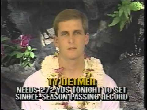 BYU's Ty Detmer receives the 1990 Heisman Trophy