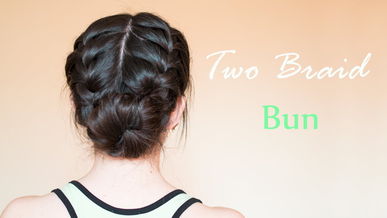 Two French Braid Bun Hair Tutorial Hairdo For Everyday And Special