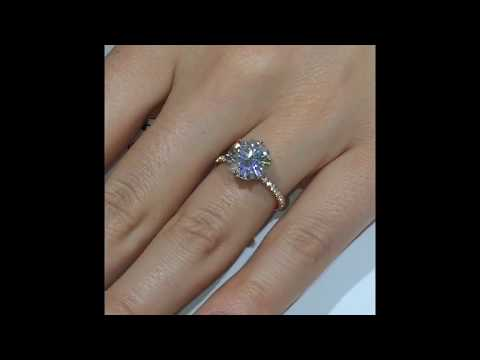 4 Carat Round Moissanite Engagement Ring