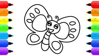 How to Draw Butterfly & Coloring Pages for Kids | Learn Colors