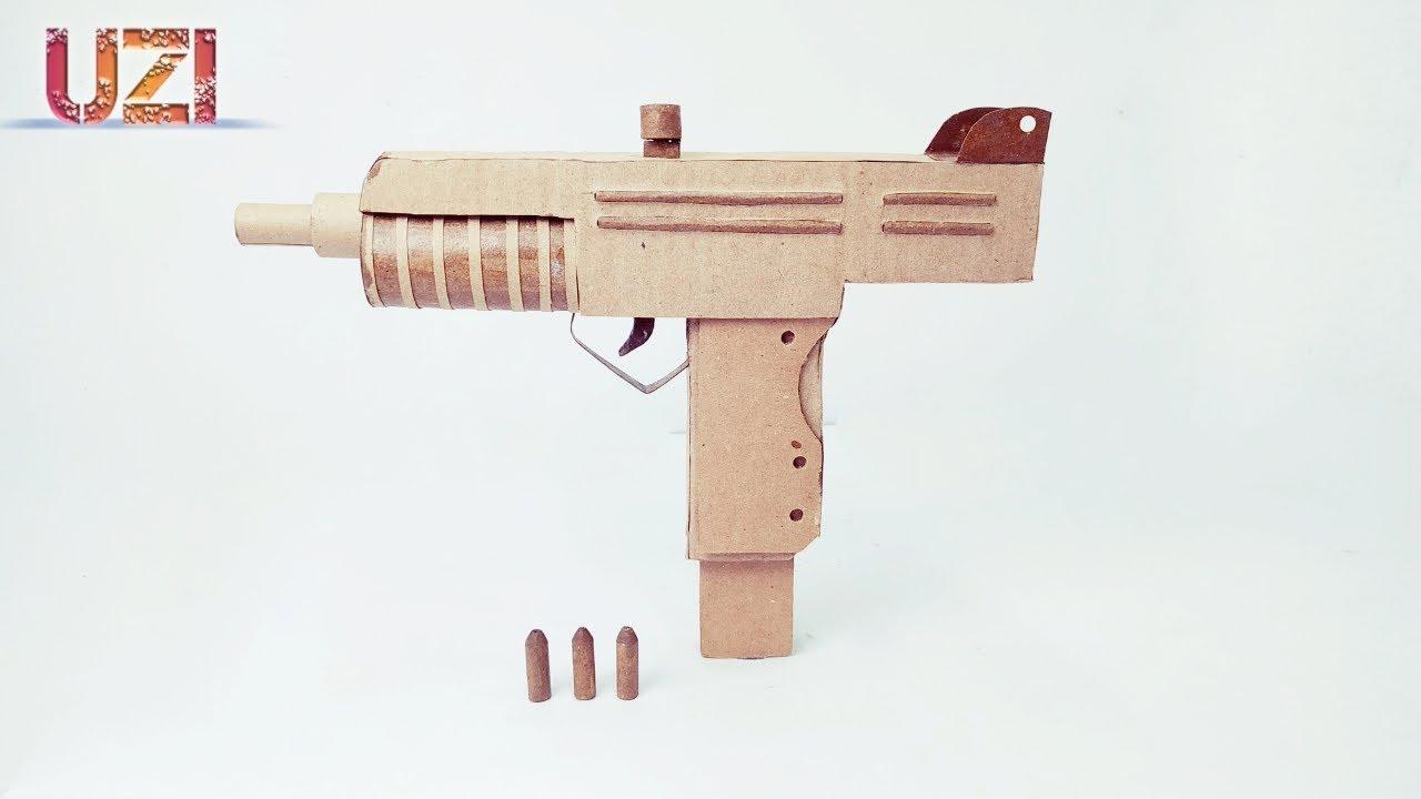 diy uzi gun that shootfrom cardboard  youtube