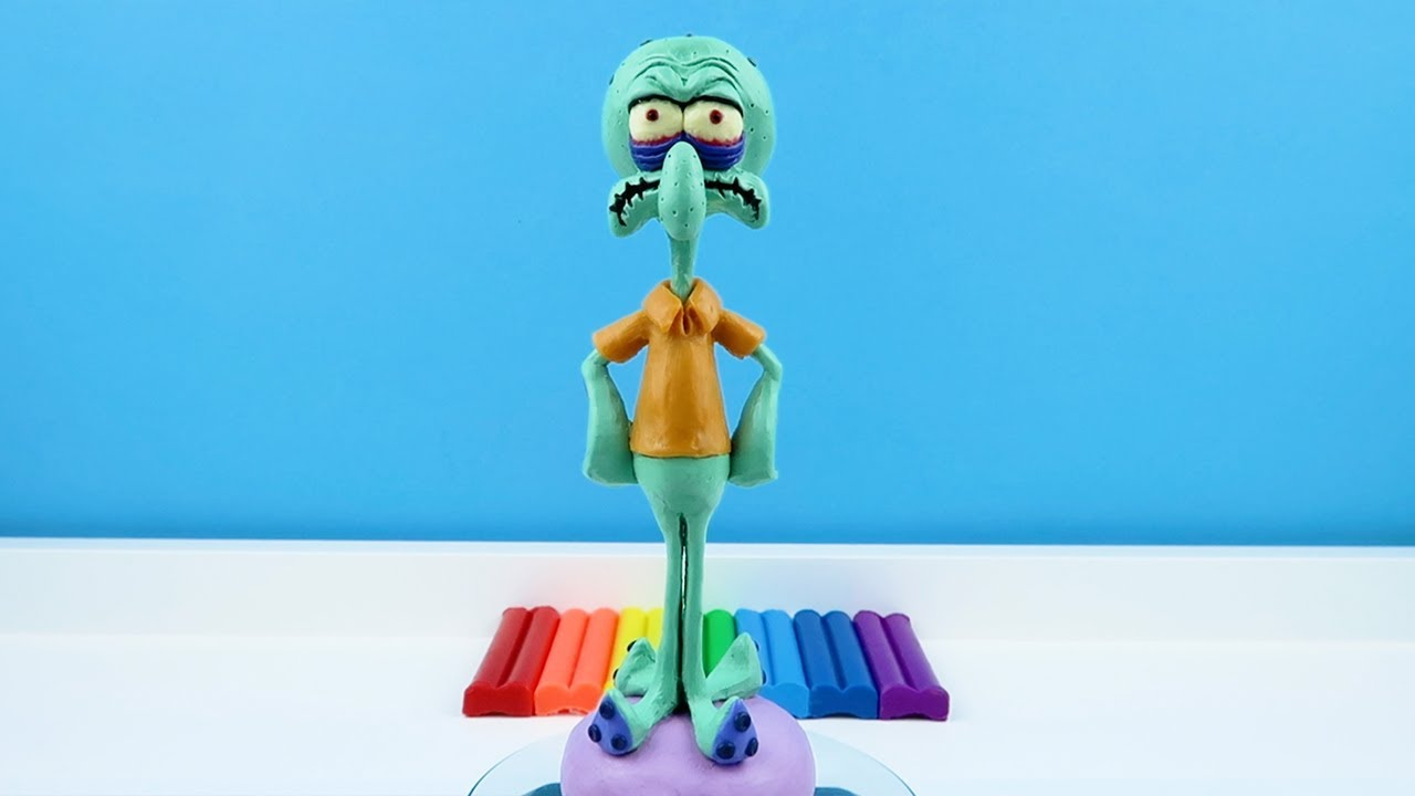 Squidward Tentacles EXE in Spongebob made from polymer clay, sculpture timelapse. Tutorial #shorts