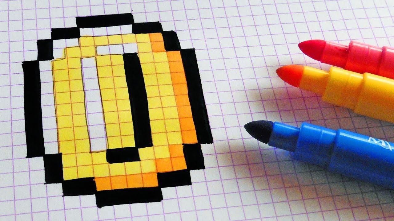 Handmade Pixel Art How To Draw Super Mario Coin Pixelart Youtube