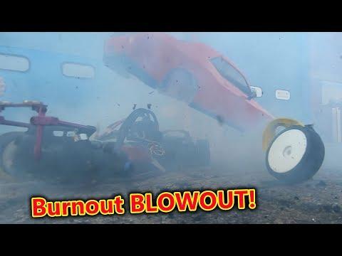 Dodge Hellcat RC Car Burnout FAIL - Massive Blowout!!!