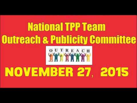 National TPP Team Outreach and Publicity phone call Nov 27 2