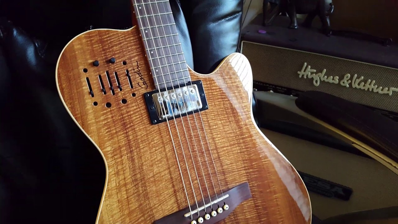 Godin A6 Ultra Thin Acoustic Guitar Highly Figured Koa Top Youtube