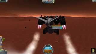 Kerbal Space Program. VTOL DropShip drops Rover (Biome Crawler) on Duna