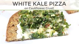 White Kale Pizza on Cauliflower Crust | Low Carb Pizza Recipe