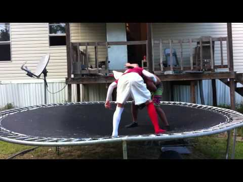 Trampoline Wrestling: KBW- AK 47 vs THE BAMA KID