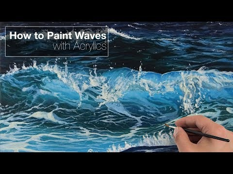 How To Paint Waves - Acrylics - YouTube