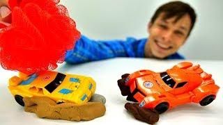 Машинки и Автоботы на автомойке Фёдора! Видео с Трансформерами.