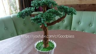 Дерево бонсай из бисера. Плетение бисером.