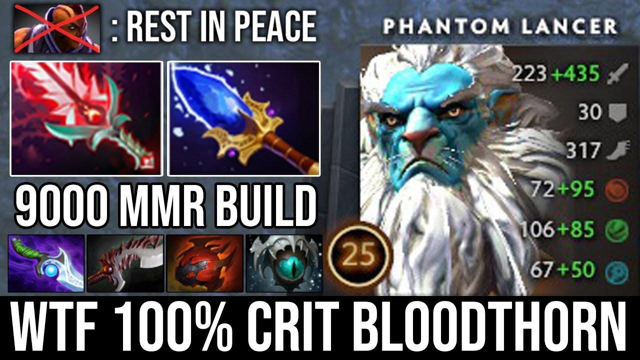 WTF 100% Crit Bloodthorn + 9000 MMR Phantom Lancer Deleted Godlike AM with His 1 Million Army DotA 2