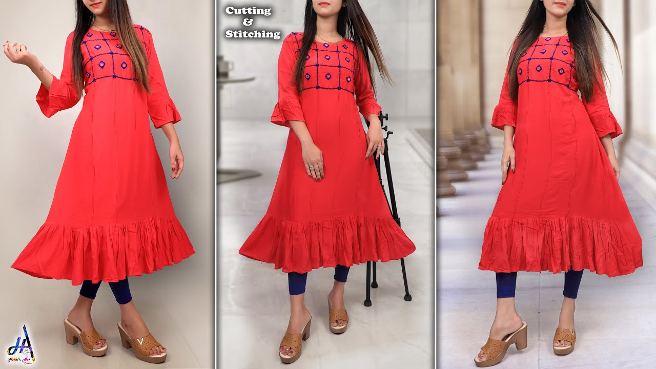 Trendy!!.. Simple & Stylish - Daily Wear  Frill Kurti Design Cutting & Stitching Step By Ste