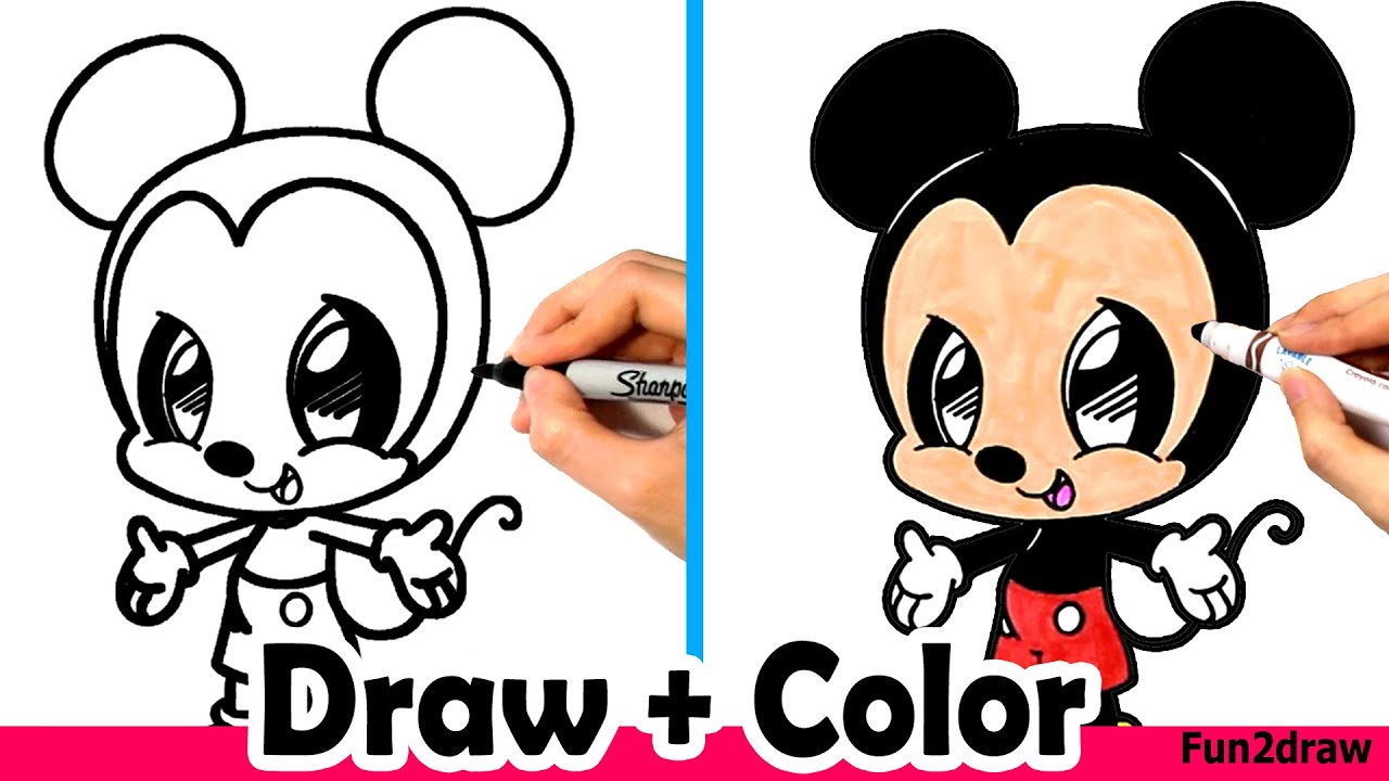 How to Draw Mickey Mouse Cute + Easy and Color with ...