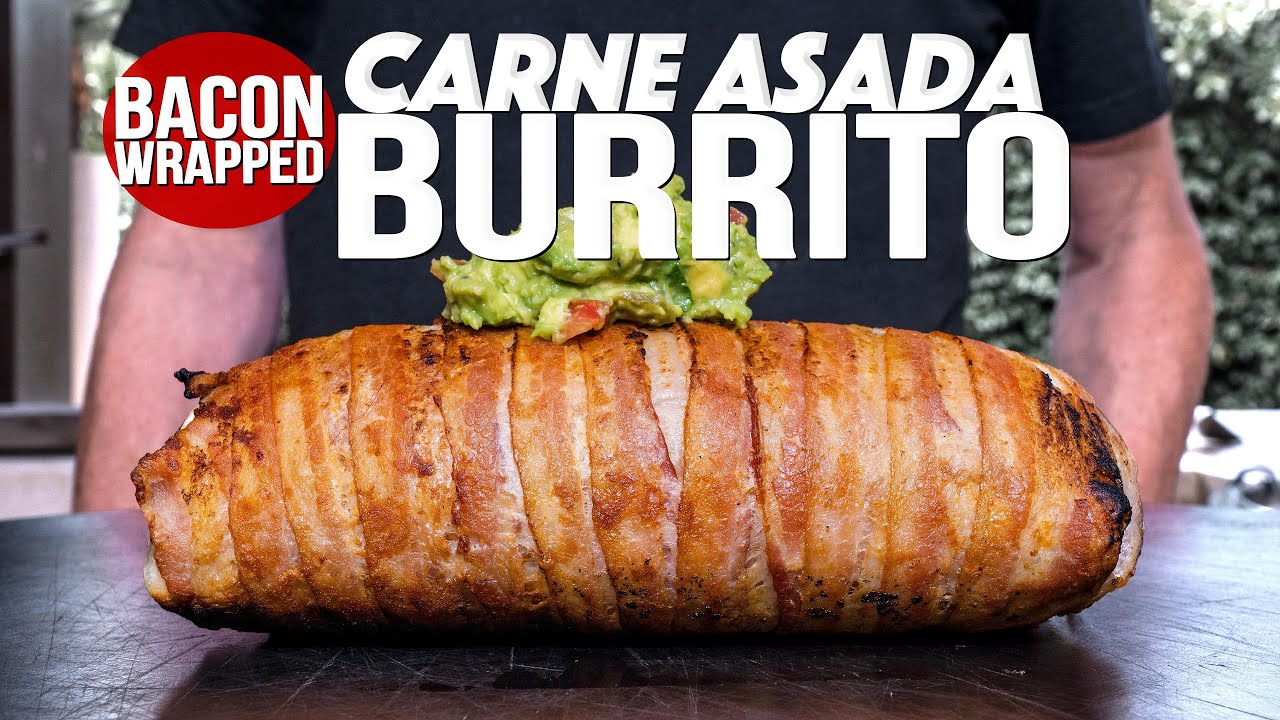 BACON WRAPPED CARNE ASADA BURRITO | SAM THE COOKING GUY