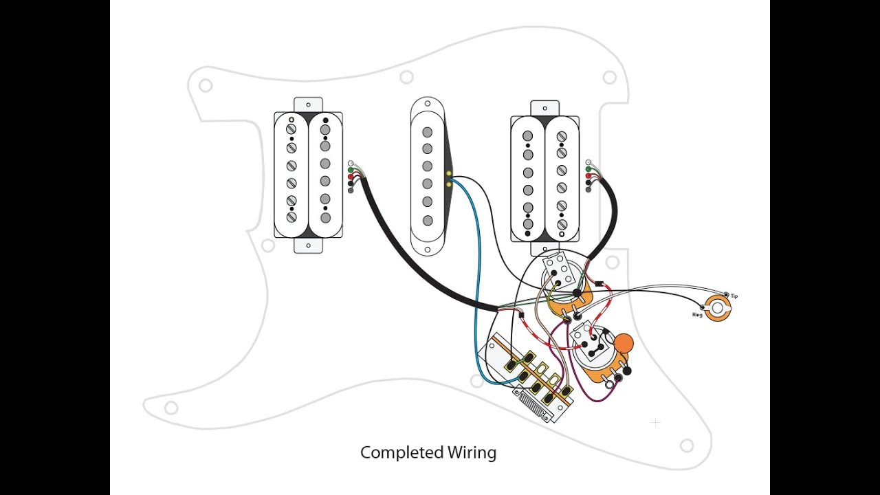 HSH w Master Volume, Master Tone, Coil Split and 7way