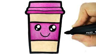 HOW TO DRAW A CUTE CUP OF COFFEE - COMO DESENHAR UM COPO DE CAFÉ KAWAII