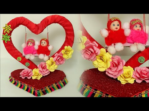Fancy WOW !!! DIY Showpiece Making at Home || Handmade Things || Craft Idea 2018 || Heart Showpiece