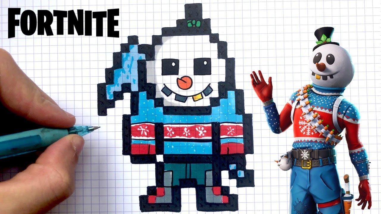 Como Desenhar Boneco De Neve Fortnite Pixel