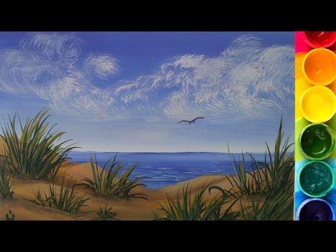 Рисуем Морской берег гуашью