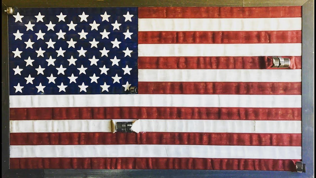 Usa American Flag Art Fire Hose Fire Station Decor