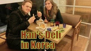 Eating Korean Fusion Food (han's Deli) Pasta, Chicken Fingers, Fries & Garlic Bread In Yongin, Korea