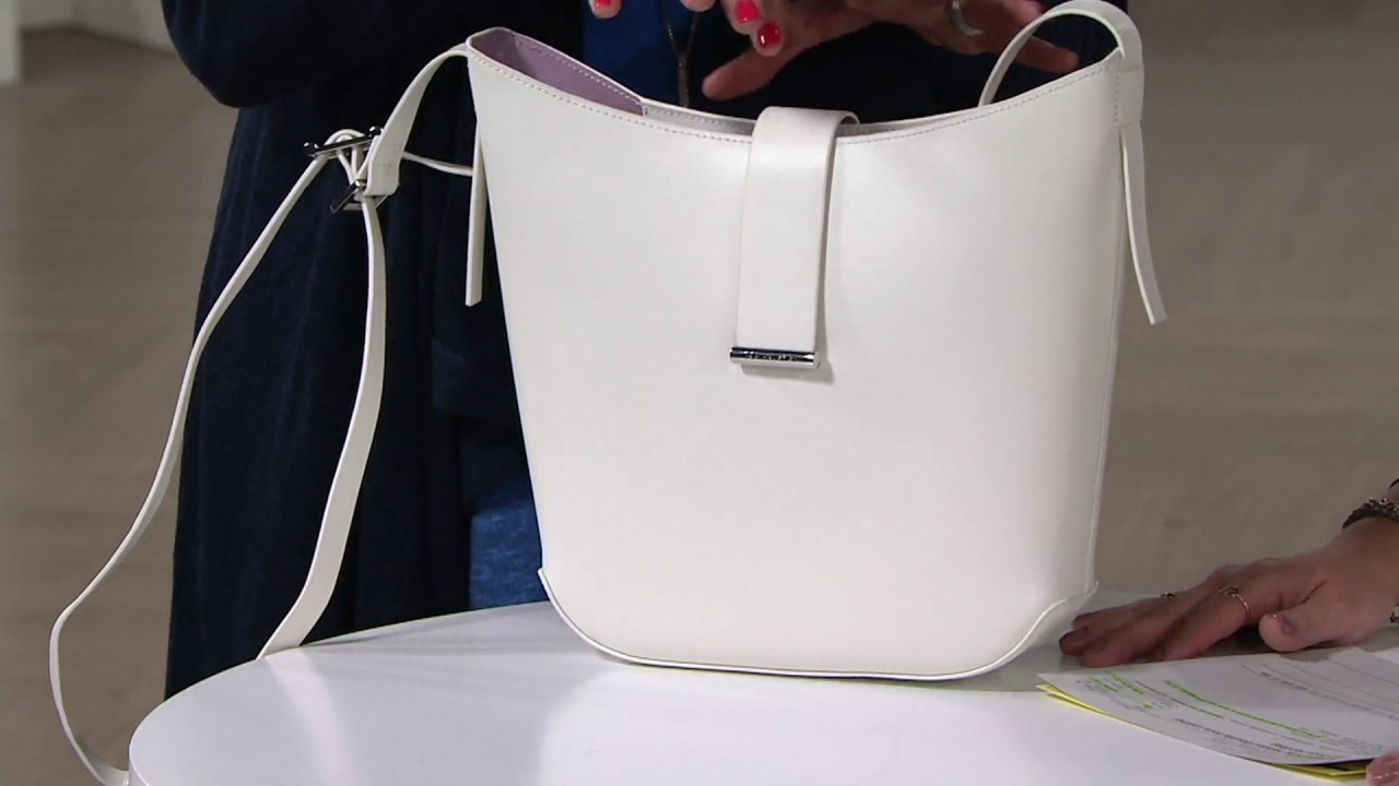5de20be020de H by Halston Double Face Leather Crossbody Handbag on QVC - YouTube