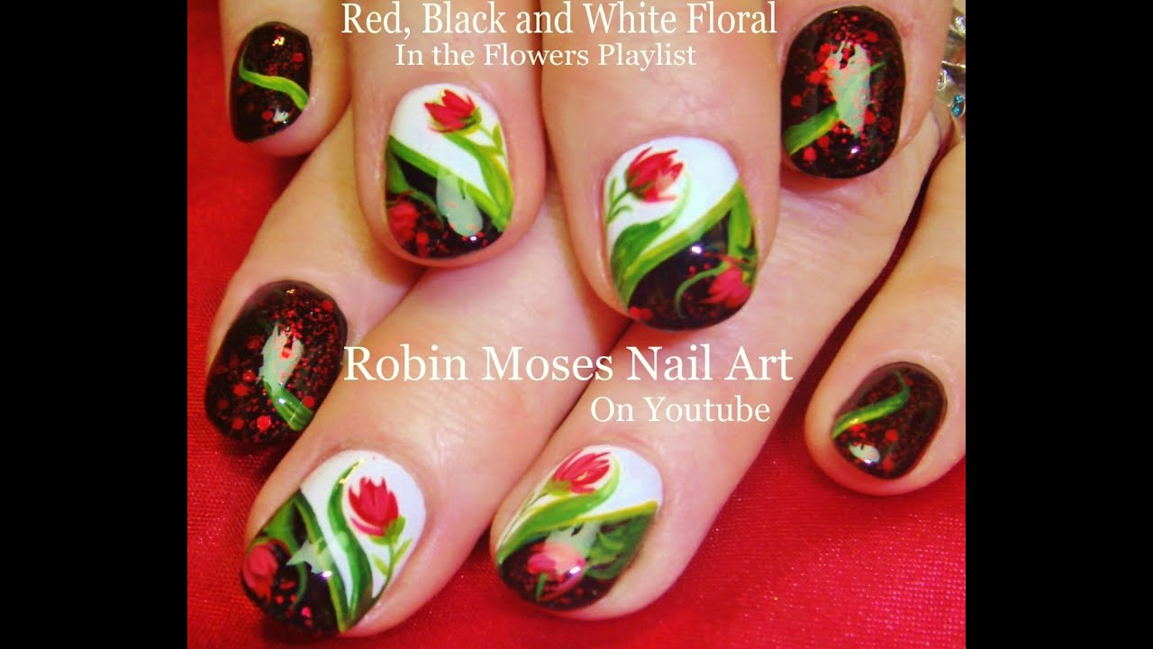 DIY Red Flower Nail Art with Glitter Design Tutorial - YouTube