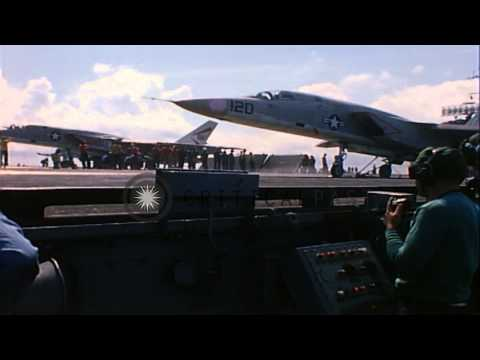 Aircraft launched from flight deck of USS Constellation at Yankee Station, Vietna...HD Stock Footage