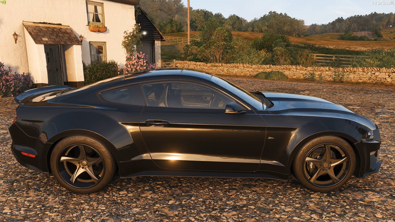 Forza horizon 4 2018 ford mustang gt deberti design car show speed jump crash test