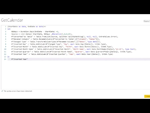 How to use Power Query and M to Create a Calendar Tables with Tristan  Malherbe