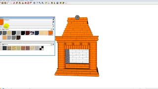 Как изменить цвет всех кирпичей камина в программе sketchup?