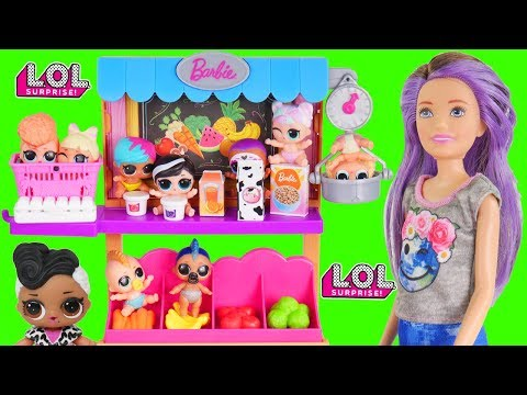 Barbie Visits LOL Surprise Grocery Store and Mix Wrong Bunk Beds   Toy Video