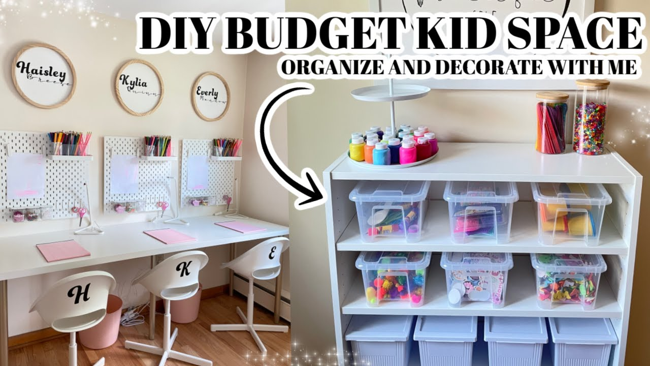 DIY BUDGET KID SPACE ORGANIZE AND DECORATE WITH ME CRAFT SPACE TOY ORGANIZATION HOMESCHOOL KIDS DESK