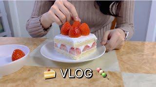 [고3 브이로그] 딸기생크림케이크 만들기, 꼬치어묵우동…