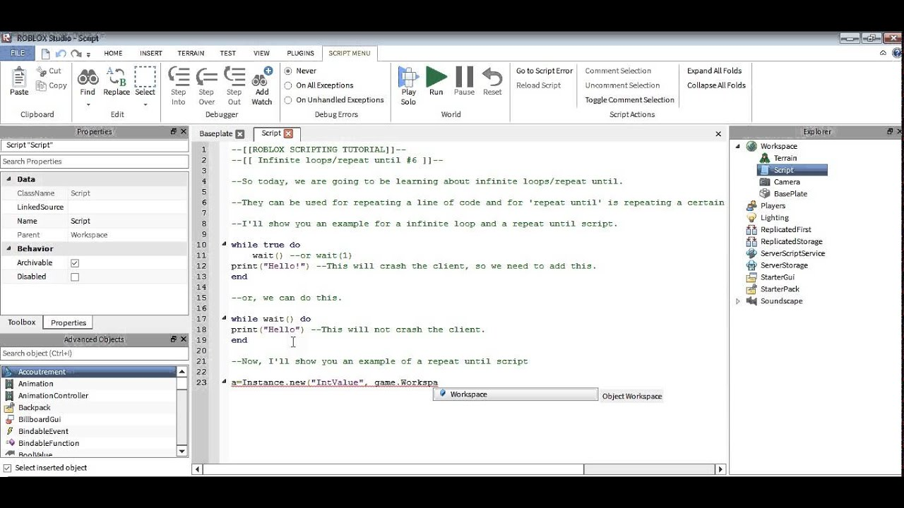 Roblox Scripting Tutorial : Infinite loops / repeat until ...