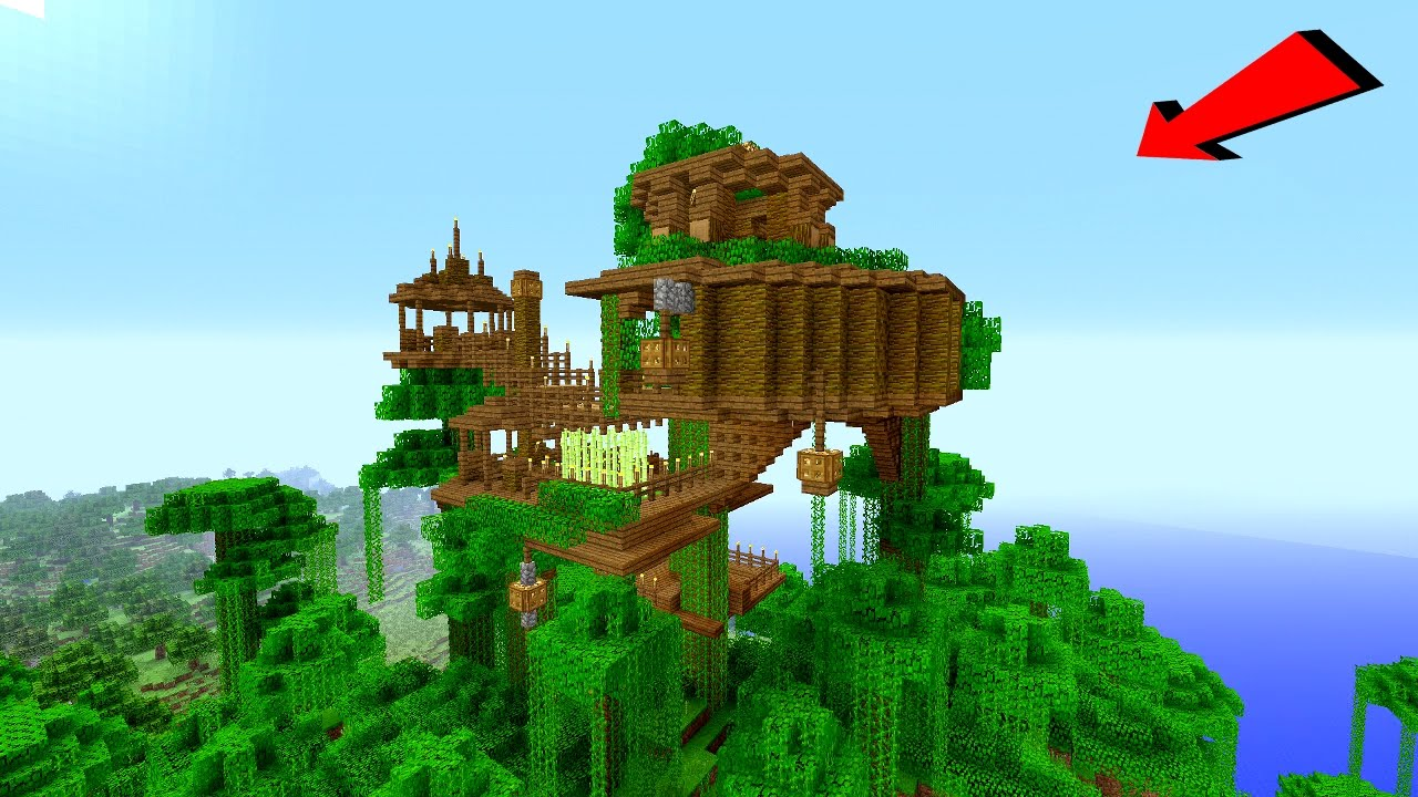 Minecraft: How To Build a JUNGLE Village / TreeHouse Tutorial [ How to make ]
