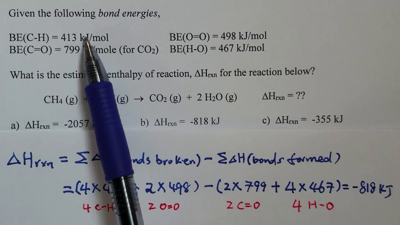 Enthalpy of Reaction and Bond Energy - Learn how to solve ...